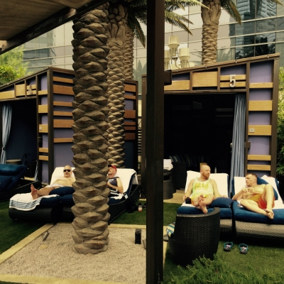 Hanging at the Cosmopolitan Las Vegas Bamboo Pool Cabana